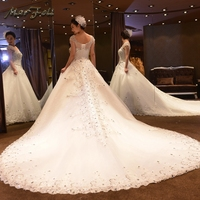 Marfoli Luxury Wedding Dresses 2018 With Beads and Lace Ball Gown White/Ivory Bridal Gown Real Photo Custom Size WD14107