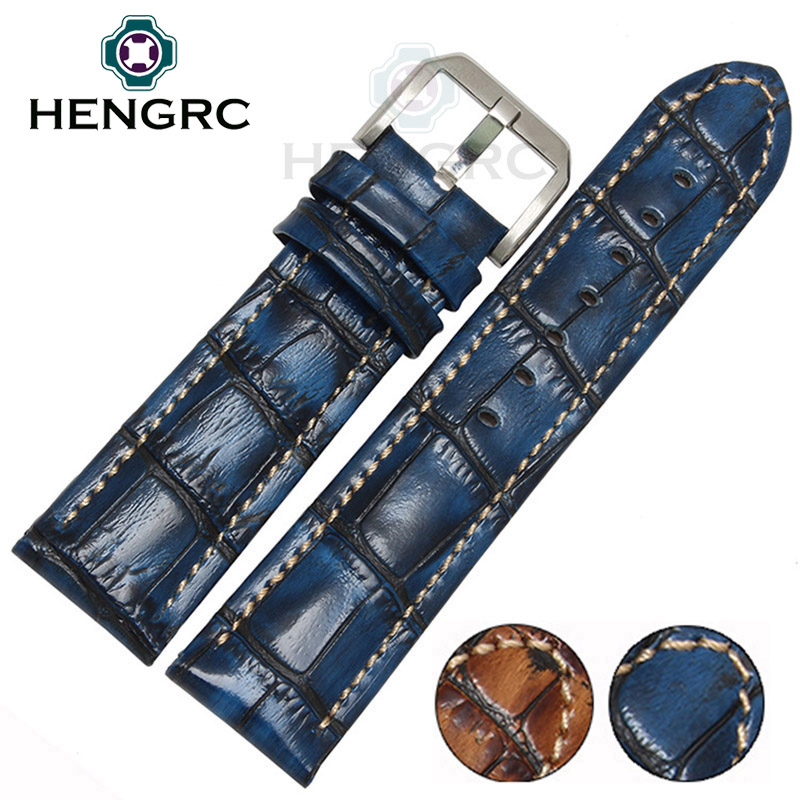 HENGRC Fashion Genuine Leather Watch Band Belt 20mm 22mm Brown Blue High Quality Men Strap Metal Needle Buckle For Panerai