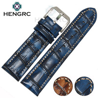 HENGRC Fashion Genuine Leather Watch Band Belt 20mm 22mm Brown Blue High Quality Men Strap Meatl