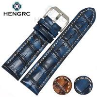 HENGRC Fashion Genuine Leather Watch Band Belt 20mm 22mm Brown Blue High Quality Men Strap Meatl