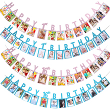 Baby 1st 2nd Birthday Photo Banners 16/18/21/30/40/50/60 Happy Anniversary DIY Booth Paperboard Wall Banner
