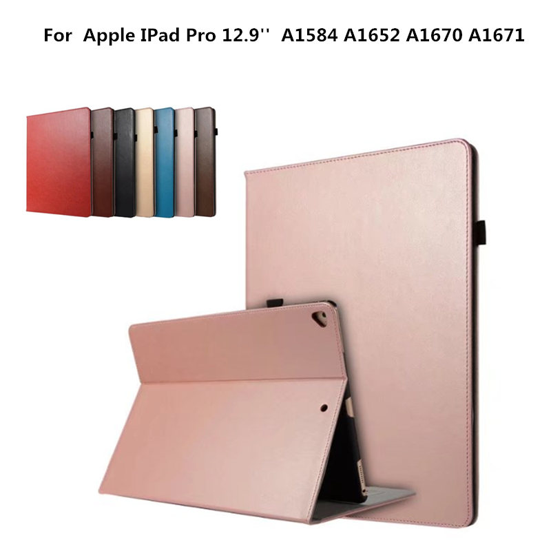 PU Leather Vintage Flip Stand Cover Card Slot Hand Strap Case for iPad Pro 12.9 inch 2017 A1584 A1652 A1670 A1671 Cases