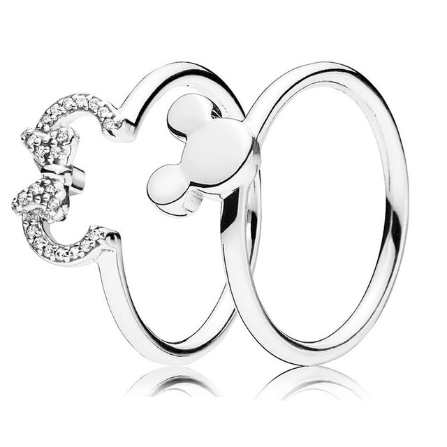 b99b8cd73 925 Sterling Silver Ring Mickey&Minnie Silhouette Rings With Crystal For  Women Wedding Party Gift Fine Pandora Jewelry-in Rings from Jewelry &  Accessories ...