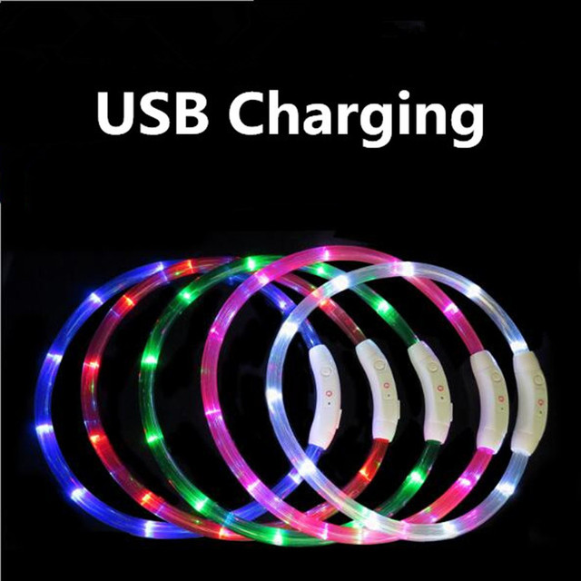 Rechargeable Flashing Night Dog Collars USB luminous pet collar led light USB charging dog collar glowing Teddy Flash Collar Pet