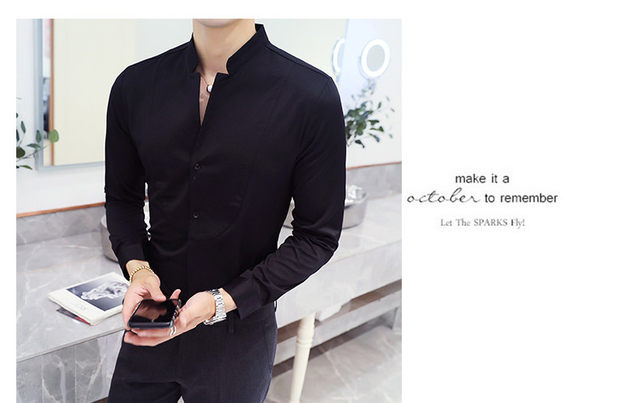 Fall Winter Stand Collar Mens Long-sleeved Dress Shirts Black Red White Slim Elegant Youth Male Business Wedding Formal Shirt 28