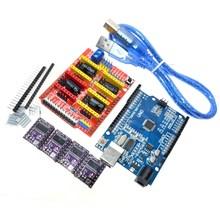 Щит с чпу гравировальный станок 3D Printe V3 + 4 шт. DRV8825 драйвер платы расширения для Arduino UNO R3 с USB кабель