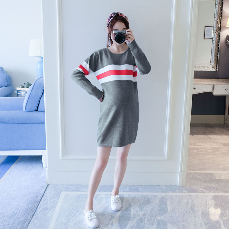 2017 autumn elastic warm knitted maternity dress maternity clothes bodycon clothes pregnant women pregnancy party dress 2017 autumn maternity dress t shirt