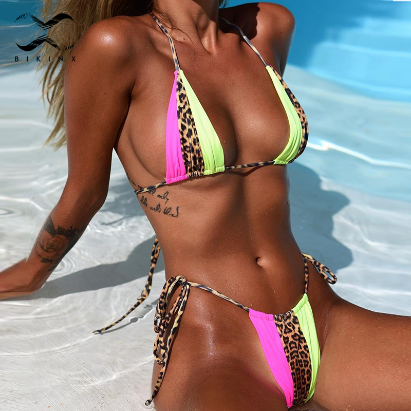Bikinx Leopard Bikinis 2020 Mujer Biquini Zebra Neon Sexy Swimwear Women Bathing Suit String Brazilian Swimsuit Push Up Bathers