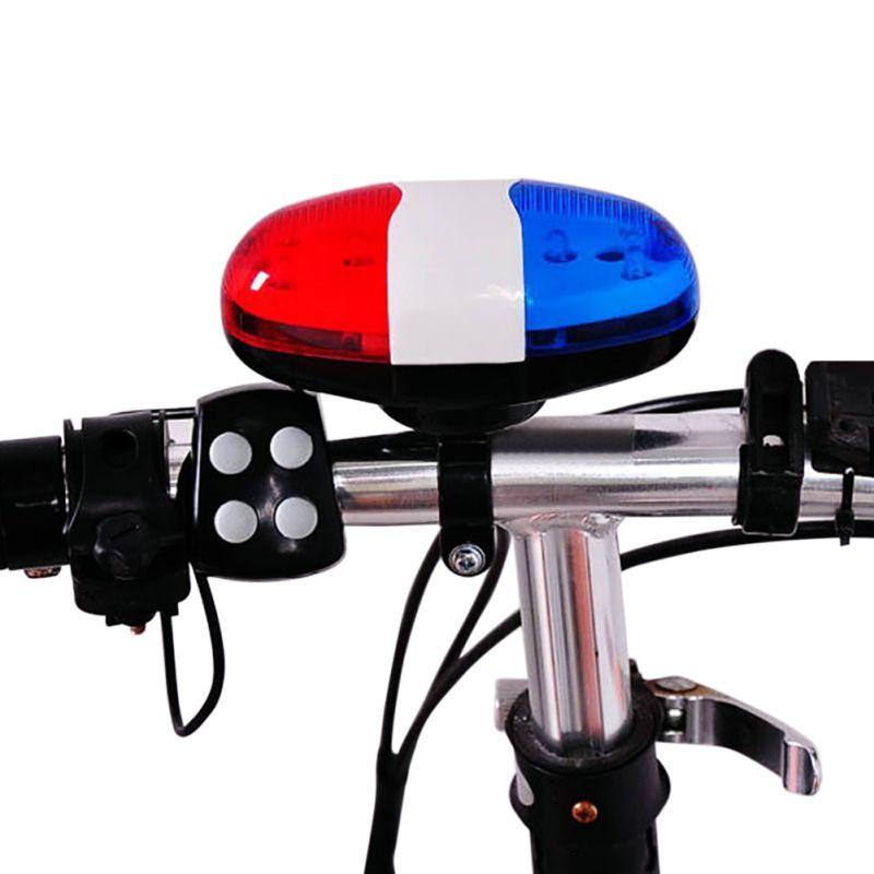 Azul + Rojo 6LED 4 Tono de Bocina de Bicicleta Bells Policía coche LED Luz de la