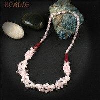KCALOE Handmade Irregular Pink Natural Stone Pendants Necklaces Fashion Wedding Crystal Choker Necklace Charms Jewellery