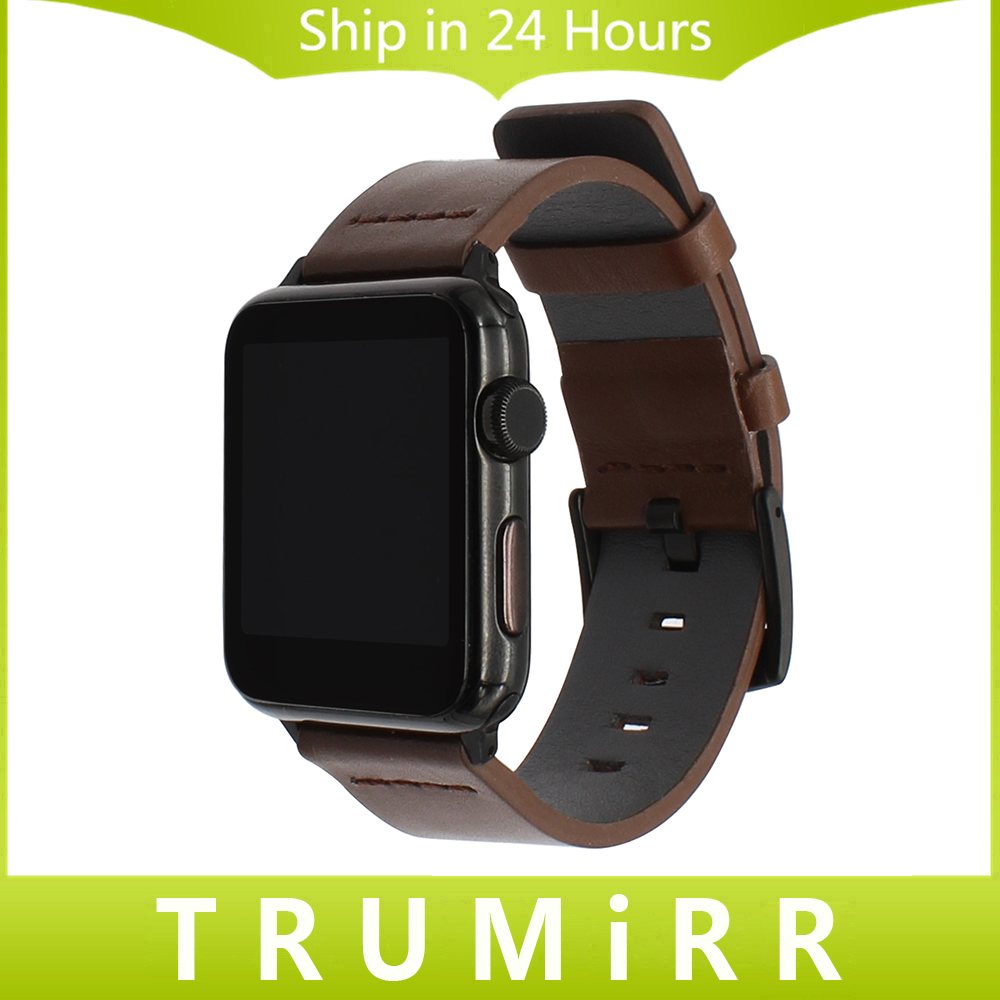 Italian Oily Leather Watchband for iWatch Apple Watch 38mm 42mm Series 1 2 3 Watch Band Steel Buckle Strap Wrist Bracelet Black luxury ladies watch strap for apple watch series 1 2 3 wrist band hand made by crystal bracelet for apple watch series iwatch