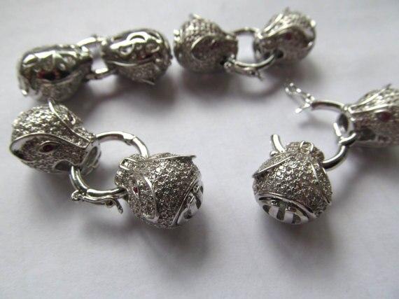 2 комплекта 40 мм алмаз в микро оправе CZ двойной леопард пантера головки застежки, микро Pave кубического циркония, ювелирная застежка и крючок