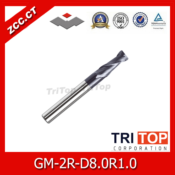 2014 router bit set zcc.ct GM-2R-D8.0R1.0 high quality cemented 2 flute r end mills with straight shank tungsten cobalt alloy