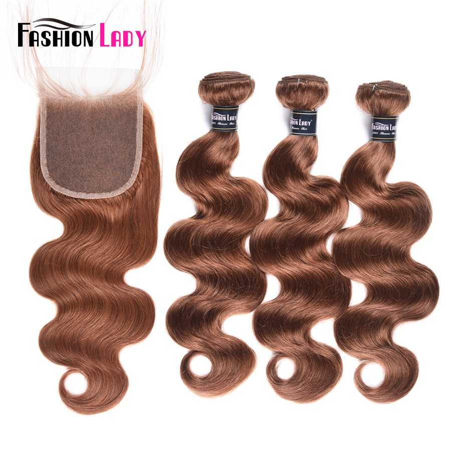 Fashion Lady Pre-Colored 3 Pieces Reddish Brown 30# Indian Body Wave Human Hair Bundles With Free Part Lace Closure Non-Remy