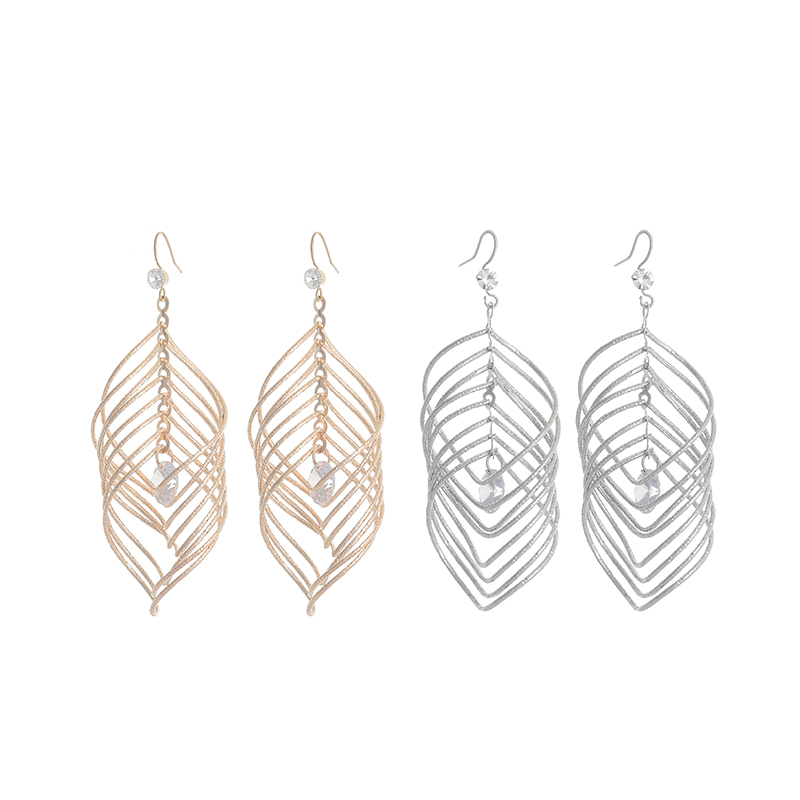 Punk Earring Silver Big Crystal Geometric Leaf Metal Long Dangle Earrings For Women Bohemian Party Exaggerated Fashion Jewelry