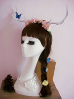 Gothic Pink Roses Deer Horns Headband Cosplay Chain Butterfly Antlers Vintage Retro Hair Accessories