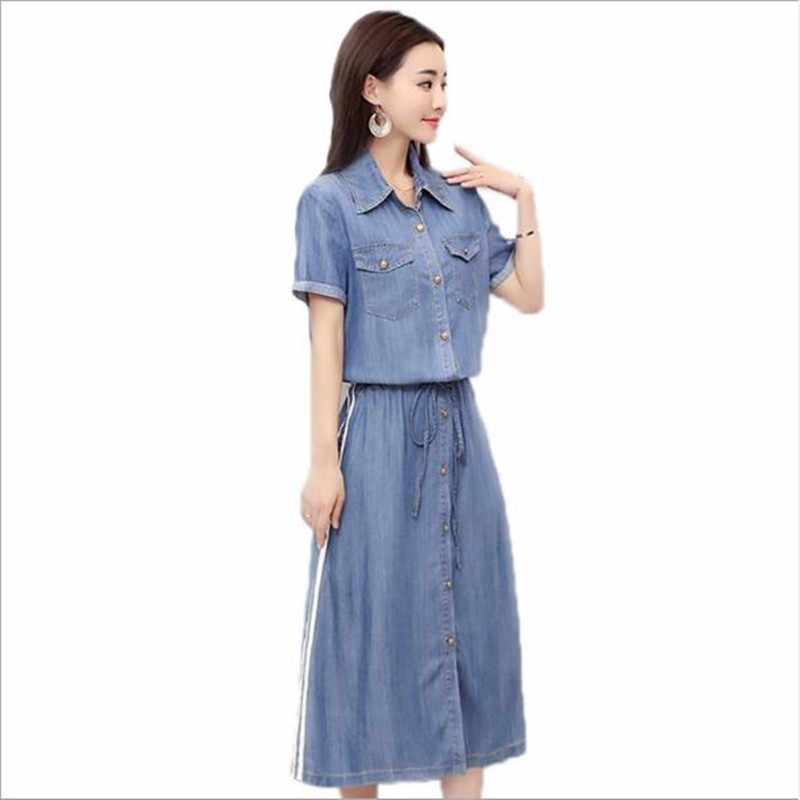 Босоножки с эластичной резинкой на талии джинсовые платья однобортный джинсы платье Для женщин Винтаж Повседневное короткий рукав до середины икры сарафан Femme QC984