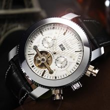 JARAGAR Brand Luxury Automatic Mechanical Fashion Leather Calendar Flywheel Men Wrist Watch Men s Watches 2016