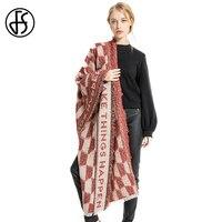FS Cachemire Femmes Châles D'hiver Chaud Écharpe De Luxe Marque Géométrique Lettres Motif Foulards À La Mode Wraps Pashmina Haute Qualité