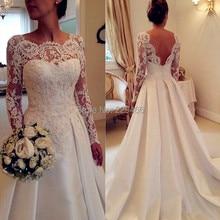 Wuzhiyi lange trouwjurk 2018 Aline vestido de noiva Custom made jurk kralen elegante trouwjurk Voor bruiloft Puls grootte gown