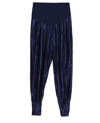 Лето г. для беременных женщин живот пляж широкие брюки Модные Брюки темно синий Высокая талия тонкий подол средства ухода за кожей - Цвет: Navy Blue