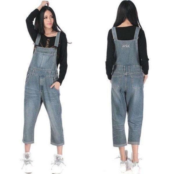 Новые Модные капри женский комбинезон брюки для женщин высокое качество джинсовое изделие свободного кроя плюс размер Летний комбинезон 5XL - Цвет: Небесно-голубой