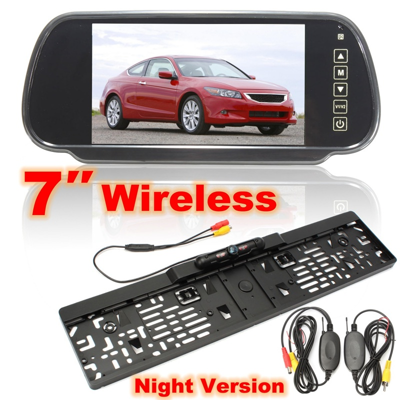 Car Styling 7 Inch TFT LCD Screen Car Rear View Monitor Display+Wireless Rear view Reverse Backup Camera License