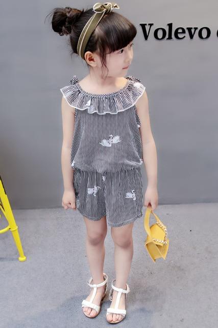 (4 sets/lot) New 2018 Summer Girls' Clothing Sets Striped T-shirt & Shorts Baby Girl 2 PCs Set  8042615
