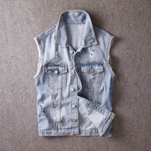 British Fashion Men Vest Light Blue Punk Destroyed Ripped Sleeveless Denim Jackes Casual Coats Streetwear Hip Hop