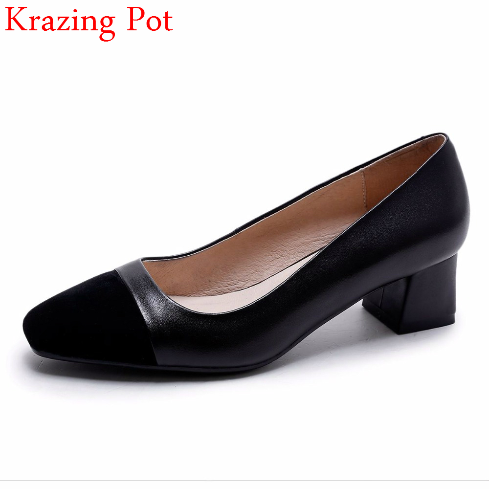 2018 Superstar Genuine Leather Thick Heel Shallow Women Pumps Square Toe Mixed Colors Brand Office Lady Slip on Party Shoes L04 new genuine leather superstar solid thick heel zipper gladiator women pumps pointed toe office lady nude runway casual shoes l88