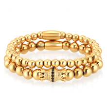 Mcllroy Gold Stainless Steel Bead Bracelet Men Crown Natural Stone Bracelets & Bangles femme Handmade Charm Luxury Men Jewelry(China)