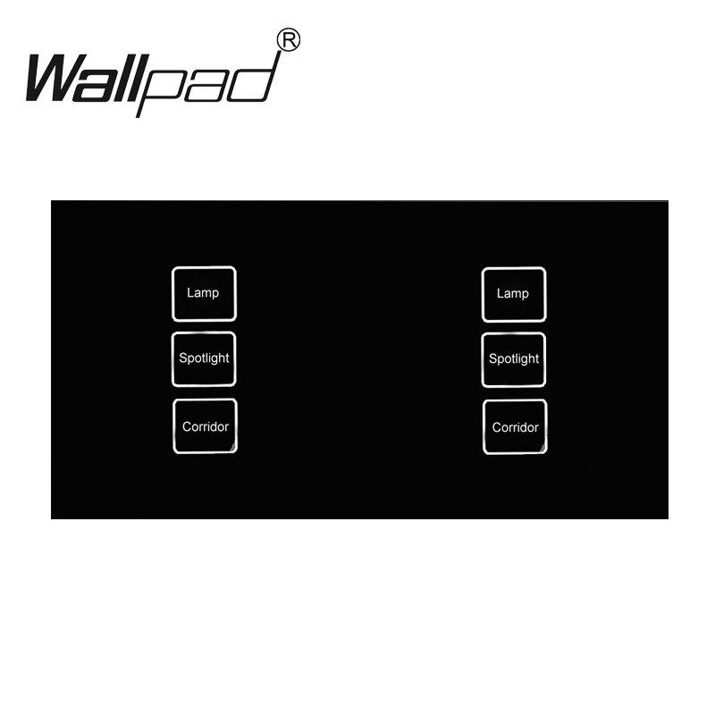 110-250 v Wallpad 6 gang 1 voie étanche cristal verre noir, 172*86mm Double bricolage tactile lumière interrupteur mural, livraison gratuite