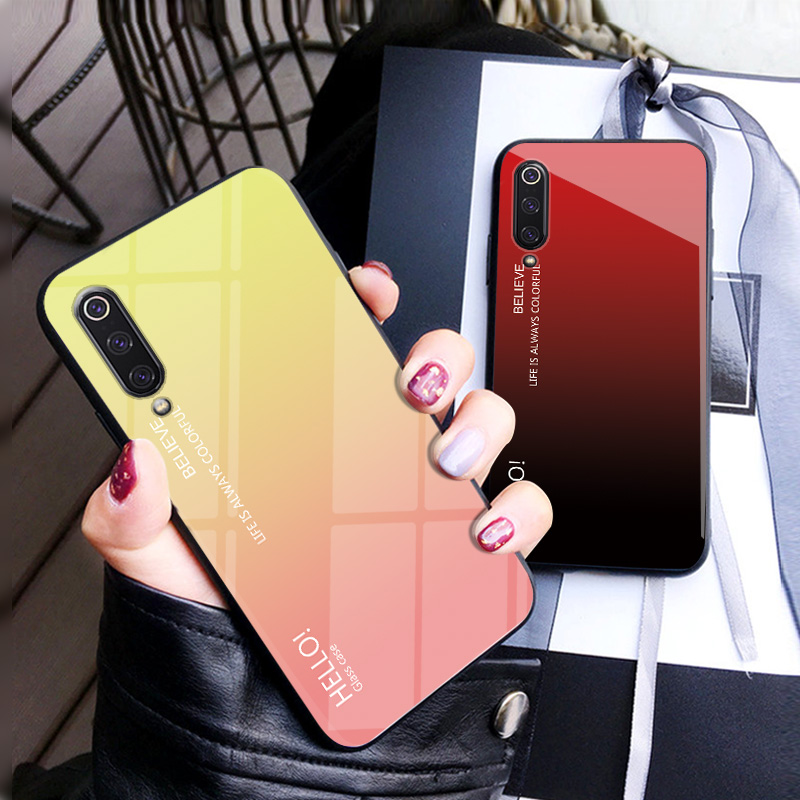 For Xiaomi Mi 9 Phone Case Tempered Glass Glossy Soft Silicon Frame Back Cover Fitted Phone Fundas Housing Coque for Xiaomi Mi 9 in Fitted Cases from Cellphones Telecommunications