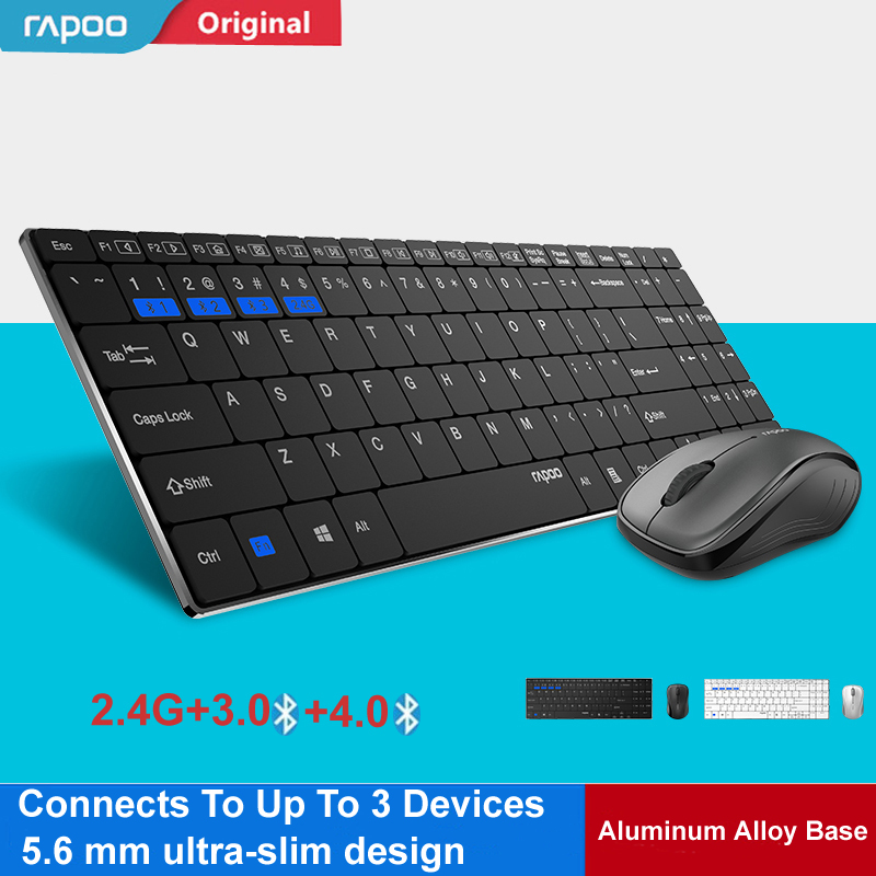 US $39 57 34% OFF|New Rapoo Multi mode Silent Slim Wireless Keyboard Mouse  Combos Switch Between Bluetooth & 2 4G Connect Up To 3 Devices #9060M-in