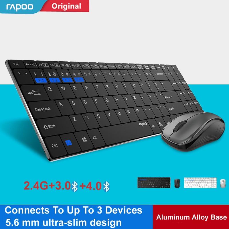Nouveau Rapoo multi-mode silencieux mince sans fil clavier souris Combos commutateur entre Bluetooth et 2.4G connecter jusqu'à 3 appareils #9060 M