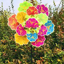 Трехслойные цветы, ветряные игрушки в виде ветряной мельницы, садовое украшение, ветровое колесо, вертушка, цветочные цветные детские игрушки, подарки