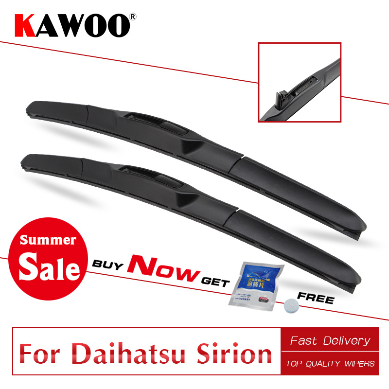 KAWOO Clean The Windshield Car Wiper Blade For Daihatsu Sirion Model Year From 1998 To 2014 Soft Natural Rubber Fit U Hook Arm(China)
