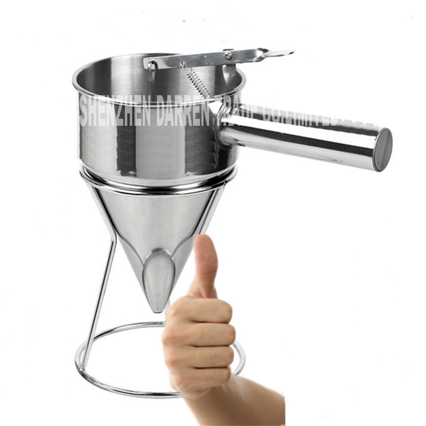 1PC Stainless Steel Waffle Pancake Dough Dispenser Stainless steel cone funnel 1000ML Hopper capacity Nozzle diameter 8MM egg liquid batter dispenser waffle hopper takoyaki ice pop making tool distributor full stainless steel