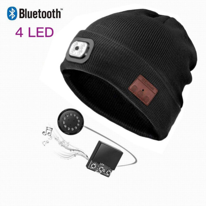 LED Wireless Bluetooth Winter Hat Knitting Smart Talk Music Headset Earphone For Sports Beanies Warming Headphone Speaker Mic