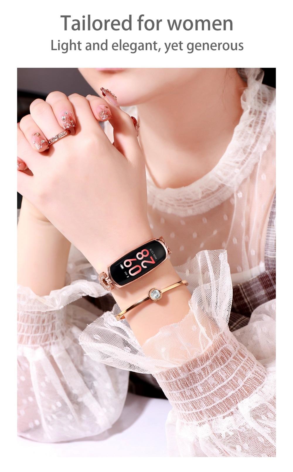 AK16 női intelligens zenekar fitnesz karkötő pulzusszám intelligens karkötő vérnyomás WristWatch Fitness Tracker SmartWatch Smartband (2)