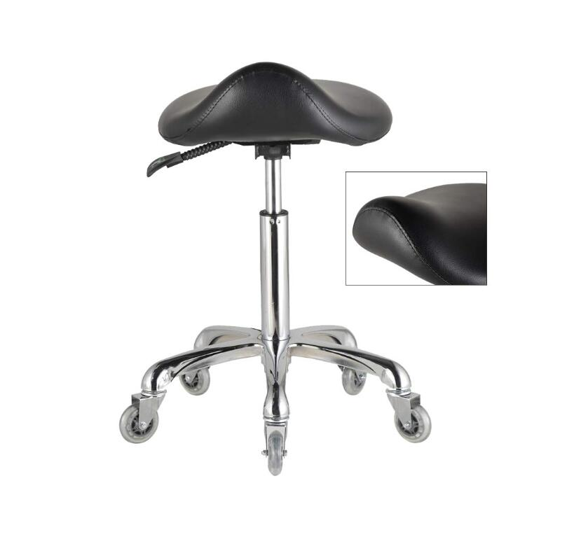 Ergonomic Adjustable Saddle Stool (Without Back) Ergonomic Swivel Chair for Dental Office Massage Clinic Spa Salon with Wheels