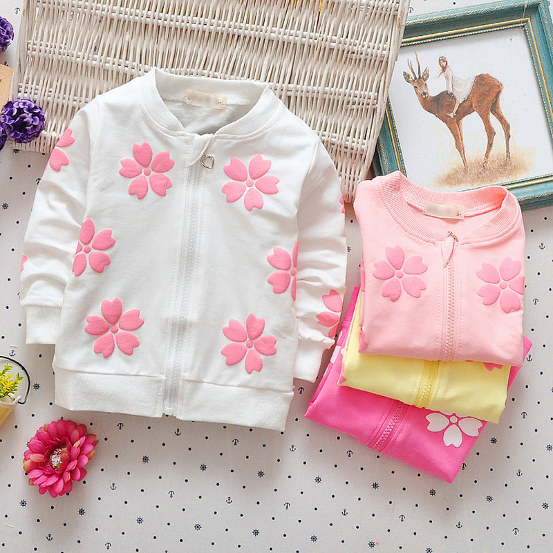 DIIMUU Toddler Baby Girls Clothing Kids Girl Casual Clothes Aqqlique Flower Tops Children Cute Cardigan Zipper Coats 53005