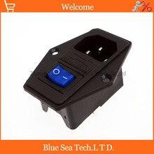 Przełącznik kołyskowy 3 w 1 z światła niebieski, AC 01A bezpiecznik gniazdo zasilania wtyczka 3 Pin 15A 250 V z skrzynkę bezpieczników + 10A bezpiecznik
