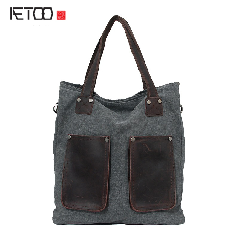 AETOO New canvas bag retro mad horse fur shoulder bag men and women type Messenger bag a generation of tide package new tide package suede women bohemian wind retro backpack pu chain men and women lovers tassel bag