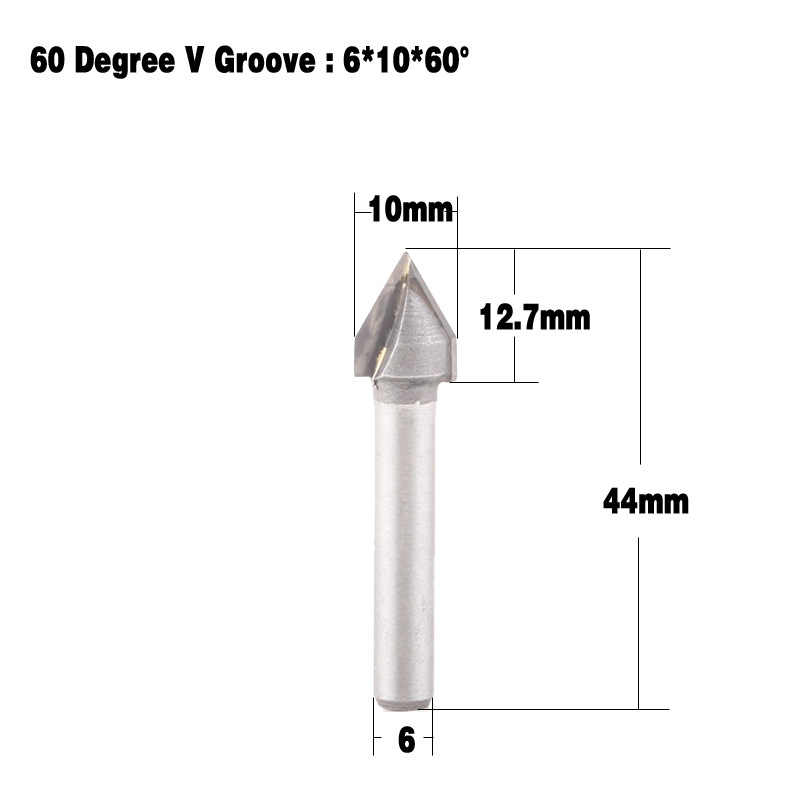 """1/4 """"シャンク 60 度ルータービットフライスカッター CNC V 溝彫刻木工ツール 6 × 10 ミリメートル"""