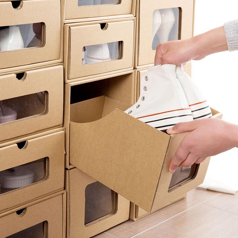 Translucent kraft paper drawer style storage shoebox for Diy shoe storage with cardboard