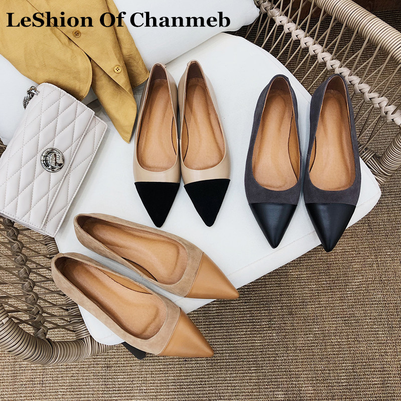 Size 34-43 Women's 2019 New Fashion Cow Leather Ballet Flats Lady Slip Ons Sheep Suede Spring Summer Single Shoes Brand Designer