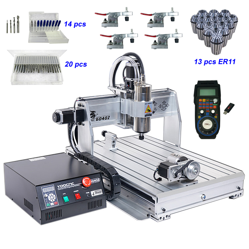 2200W 4 Axis CNC Router 6040 USB CNC Milling Machine with Wireless Mach3 MPG Pendant Handwheel Controller and Engraving Tools2200W 4 Axis CNC Router 6040 USB CNC Milling Machine with Wireless Mach3 MPG Pendant Handwheel Controller and Engraving Tools