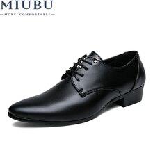 MIUBU 2019 Men Dress Shoes Pointed Toe Leather Formal Breathable Elegant Derby Black Business