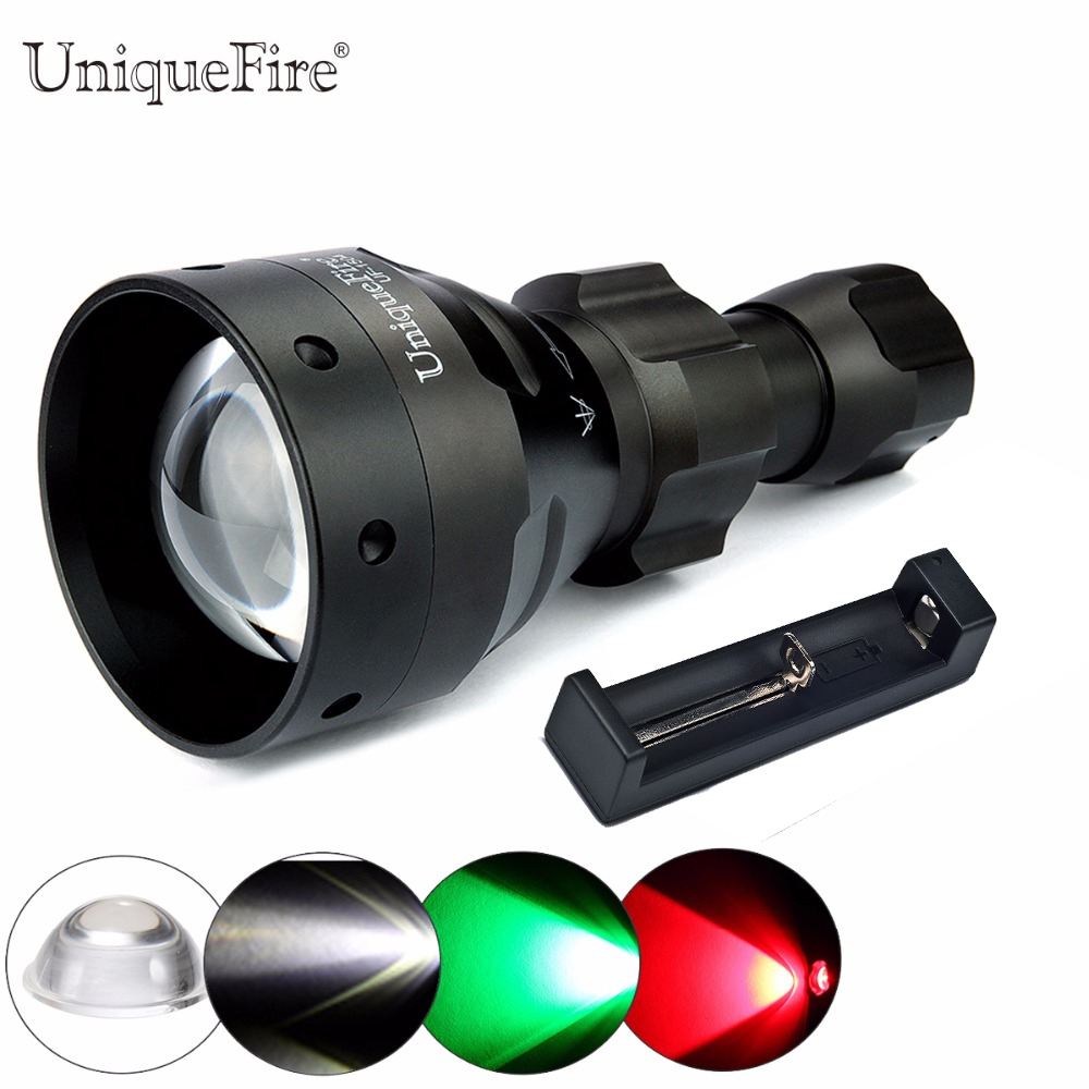 UniqueFire T67 Powerful Flashlight UF-1504 Cree XRE Led 3 Modes 300 Lumens Green/Red/White Light Waterproof Lamp Torch+Charger uniquefire uf 1405 cree xpe red white green led flashlight 18650 long distance torch 300 lm rechargeable battery gun mount